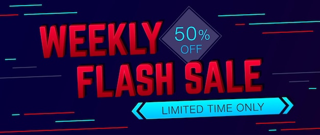 Weekly sale and special offer banner on dark background