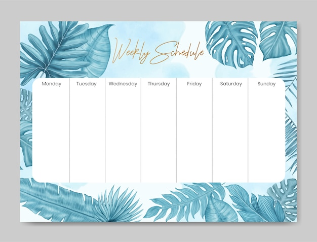 Weekly schedule template with floral design