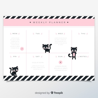 Weekly schedule template with lovely cat