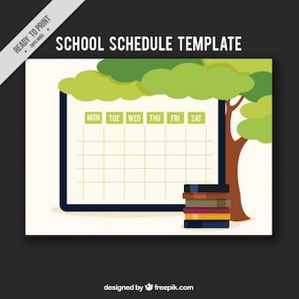 Еженедельный шаблон графика с дерева и книг