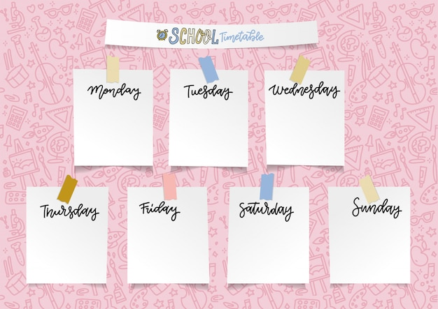 Weekly school planner template for girls. organizer and schedule with empty sticker notes.