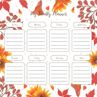 Weekly student planner with autumn floral