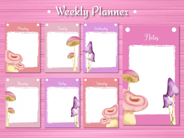 Weekly student planner with gorgeous mushroom background