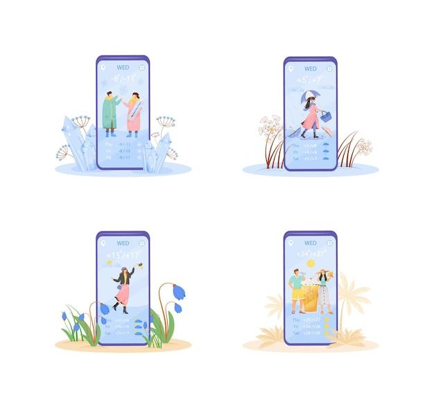 毎週の天気予報漫画のスマートフォンアプリの画面セット。フラットなキャラクターデザインの携帯電話ディスプレイ。毎日の温度通知アプリケーションの電話インターフェース