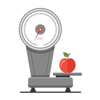 Взвешивать яблоки на весах.