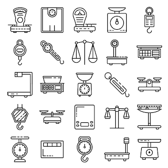 Weigh scales icons set, outline style