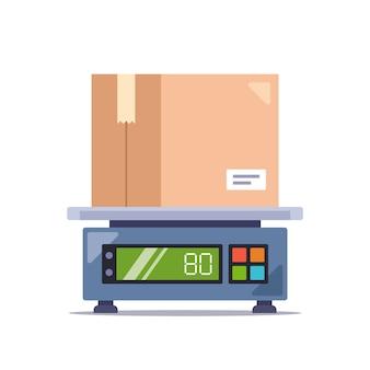 電子はかりの段ボール箱で小包の重さを量ります。