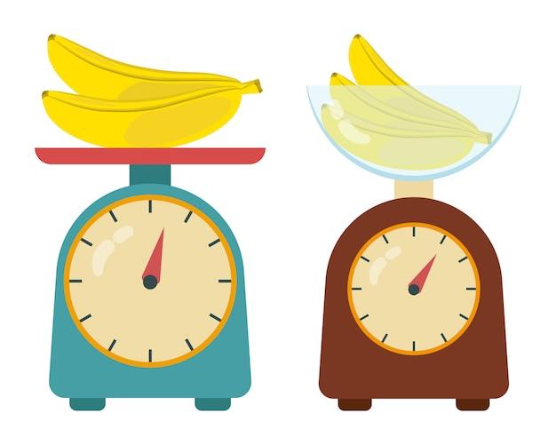 Взвешивание банана на кухонных весах.