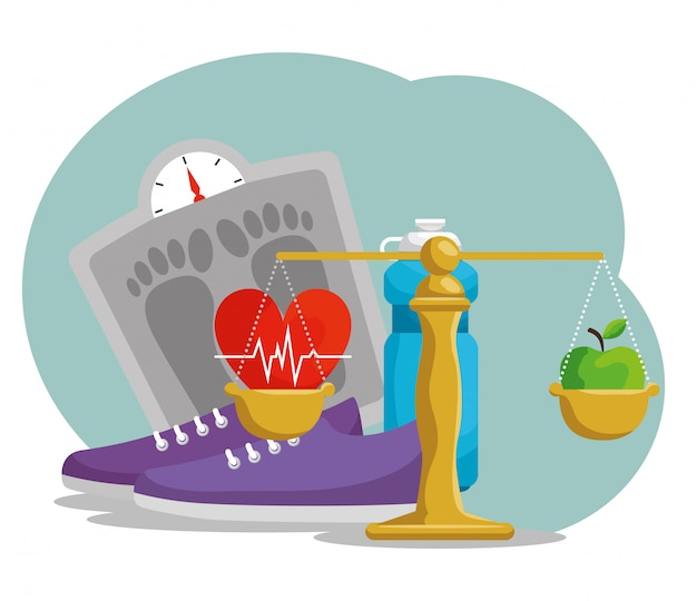 Weighing machine with heartbeat and water bottle