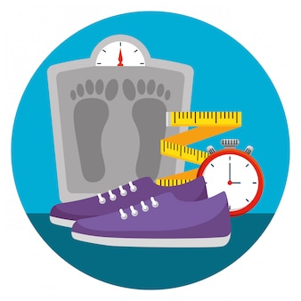 Weighing machine with measuring tape and shoes