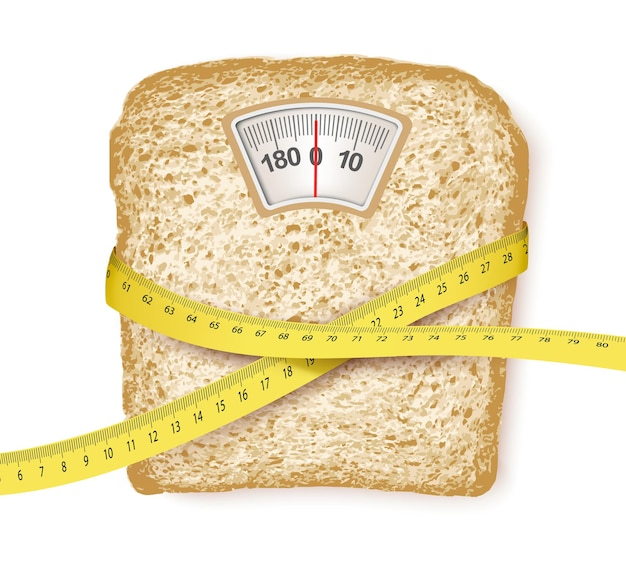 Weighing scales in form of a bread slice and measuring tape. diet concept