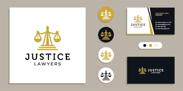 Weighing scales, justice law firm logo and business card design template inspiration
