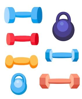 무게와 아령 훈련 장비. 다양한 색상의 스포츠 컬렉션. 흰색 배경에 그림