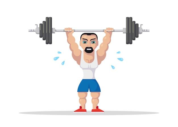 바벨 스쿼트와 저크를하는 역도 선수. 체육관 운동 개념. 플랫 스타일의 캐릭터 디자인.
