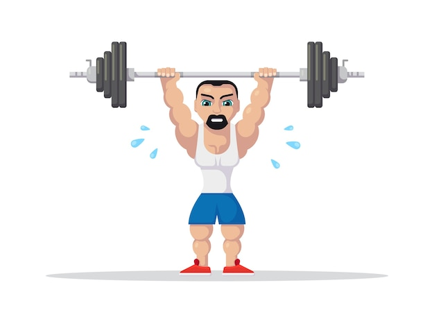 Weight lifting athlete with barbel doing squat and jerk. gym workout concept. flat style character design.
