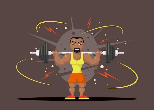 목에 barbel이있는 역도 운동 선수. 체육관 운동 개념. 플랫 스타일의 캐릭터 디자인.