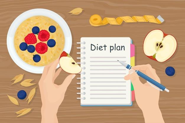 Знамя похудания с кашей, ягодой, яблоком. человек, создающий план диеты в записной книжке. здоровое питание, диета