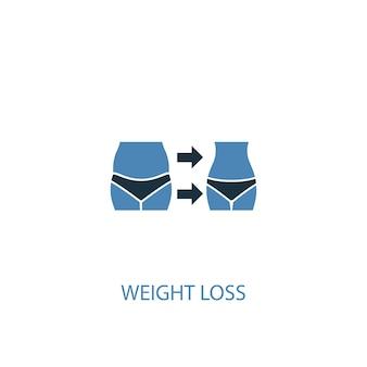 減量のコンセプト2色のアイコン。シンプルな青い要素のイラスト。減量の概念のシンボルデザイン。 webおよびモバイルui / uxに使用できます