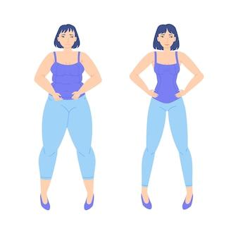 웹 배너에 대한 슬리밍 스톡 벡터 캐릭터 디자인 전후의 체중 감량 개념