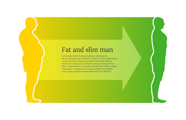 Weight loss concept fat and thin man