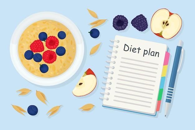Концепция потери веса. каша, ягода, яблоко и план диеты в тетради. здоровое питание, диета