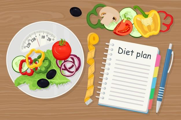 Концепция потери веса. весы, овощи и план диеты в тетради. здоровое питание, диета