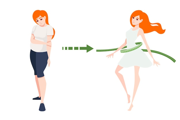 Weight loss concept with red head woman body transformation cartoon character design flat vector illustration on white background.