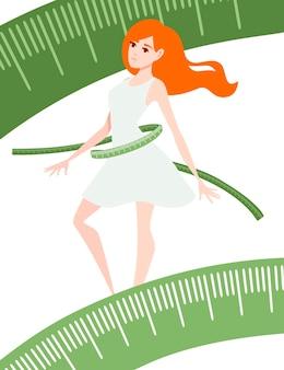 흰색 바탕에 테이프 만화 캐릭터 디자인 평면 벡터 삽화를 측정하여 빨간 머리 여성의 신체 변형을 이용한 체중 감량 개념.