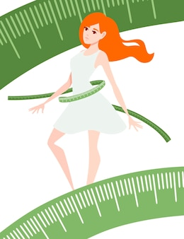 Weight loss concept with red head woman body transformation with measuring tape cartoon character design flat vector illustration on white background .