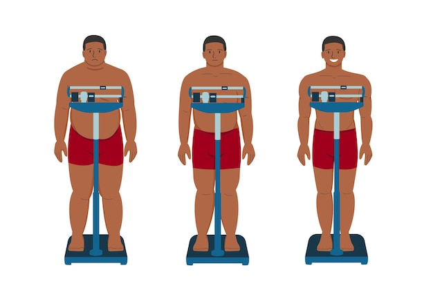 Weight loss fat patient black man flat  cartoon young sad person with overweight and happy person