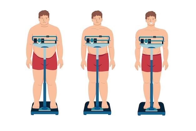 Потеря веса толстый пациент плоский мультфильм молодой грустный человек с избыточным весом и счастливый человек
