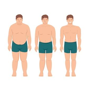 Потеря веса толстый пациент тучный мужчина и молодой здоровый худой атлетика и мышцы спорт