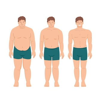 Weight loss fat patient obese man and young healthy thin person athletics and muscles sports