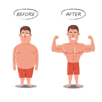 Weight loss. fat vs slim. before and after concept