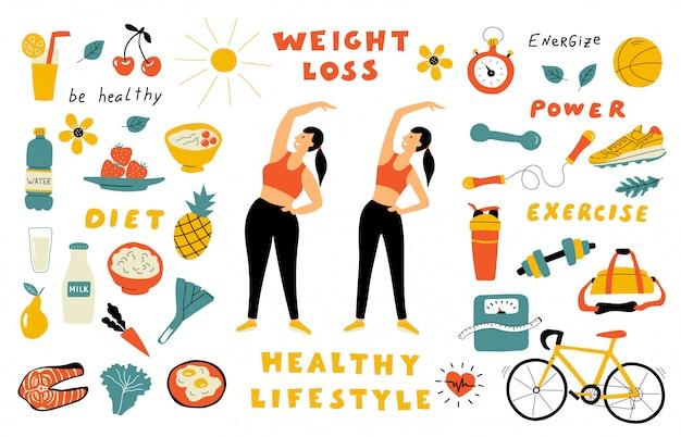 체중 감량, 건강 식품, 귀여운 낙서 글자로 설정합니다. 다이어트 전후 만화 여자. 손으로 그린 평면 그림입니다.