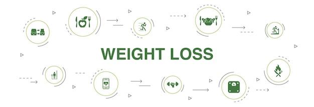 체중 감량 infographic 10 단계 원형 디자인입니다. 체중계, 건강 식품, 체육관, 다이어트 간단한 아이콘