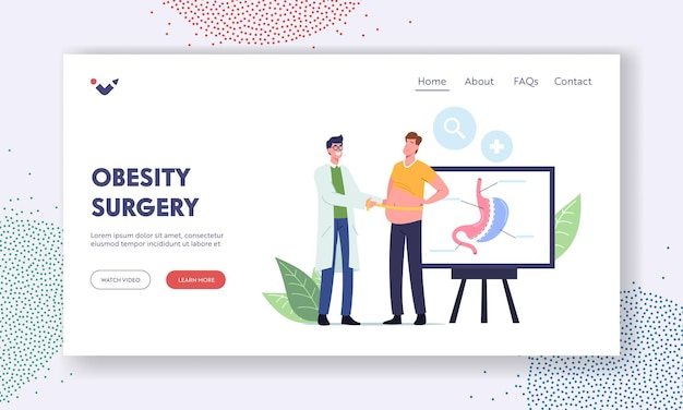 Weight loss landing page template. surgeon doctor male character measuring waist of fat man prepare patient for bariatric surgery gastrectomy procedure in clinic. cartoon people vector illustration