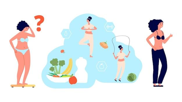 체중 감량 과정. 다이어트, 통통한 소녀는 저울에 무게를 싣습니다. 뚱뚱한 vs 날씬한 여성은 날씬함과 건강을 선택합니다. 건강한 식생활과 스포츠 벡터 삽화. 체형, 감량 체중, 여성 및 과체중
