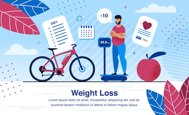 Weight loss strategy planning flat  banner