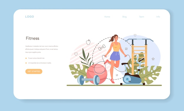 Weight loss web banner or landing page. idea of fitness and healthy diet