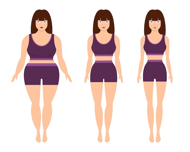 Weight loss woman  isolated on white background