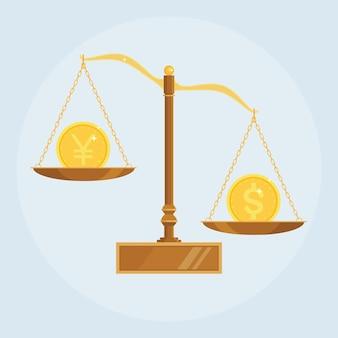 Весы сравнивают стоимость долларов и иен, юаней. весы с деньгами