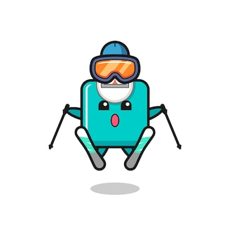 스키 선수로서의 체중계 마스코트 캐릭터, 티셔츠, 스티커, 로고 요소를 위한 귀여운 스타일 디자인
