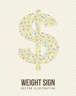 Знак веса над бежевым фоне векторной иллюстрации