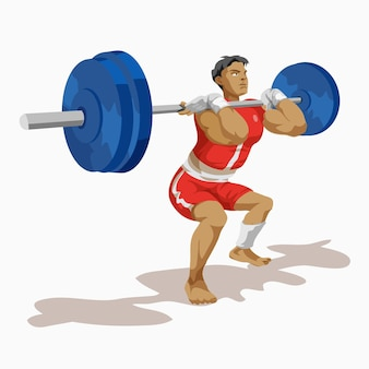 Weightlifter man training his strength isolated on white