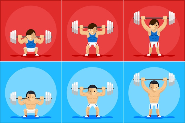 Weightlifting animation character. sport training, barbell and strength, order and manual
