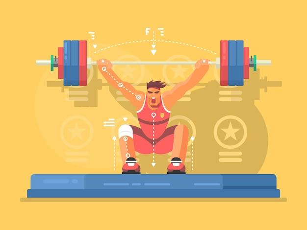 重量挙げ競技のフラットなデザイン。ジムで強い男、バーベルを持ち上げる。ベクトルイラスト