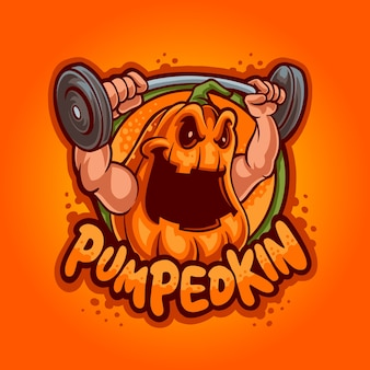 Weightlifting pumpkin mascot logo