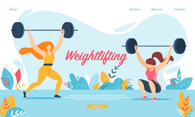 Weightlifting sport. women squatting with weight