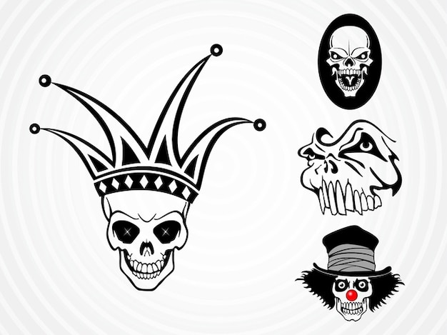 Weird dead skulls vector pack